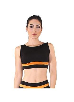 Top Cropped Fitness GR Esporte Preto Detalhe Laranja Feminino