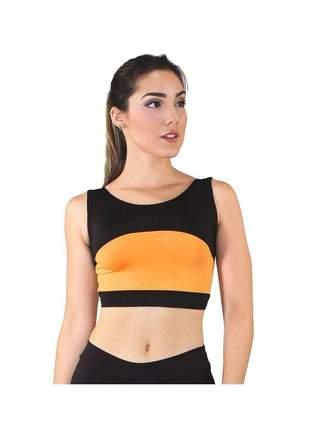 Cropped Fitness GR Esporte Preto com Detalhe Amarelo Feminino