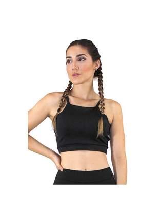 Cropped Top Fitness GR Esporte Alcinha Basic Preto Feminino