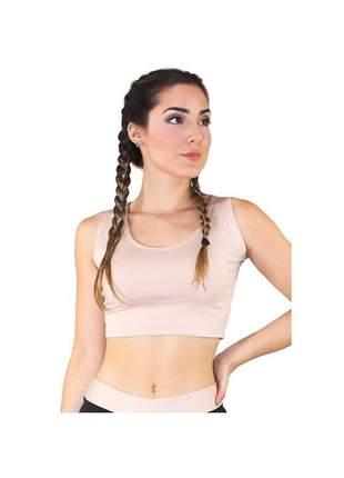 Top Cropped Fitness GR Esporte Basic Chocolate Feminino