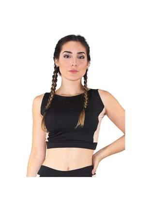 Top Cropped Fitness GR Esporte Detalhe Lateral Rosê Feminino