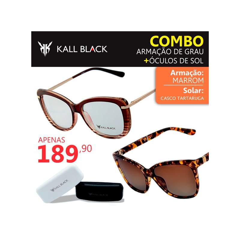 d1ceaa387 Kit 2 em 1 compre a armação e leve um óculos solar feminino kallblack1