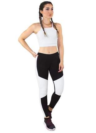 Cropped e Calça Fitness GR Esporte Preto com Detalhe Branco Feminino