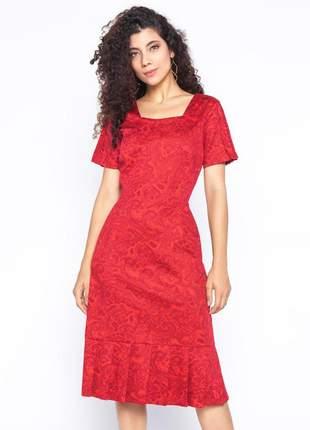 Vestido de pregas estampado manga curta vermelho - 06080