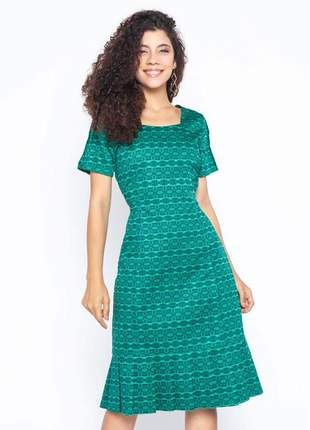 Vestido de pregas estampado manga curta verde - 06080