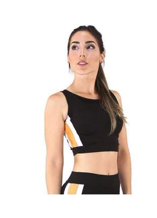 Cropped Top Fitness GR Esporte Preto com Detalhe Feminino