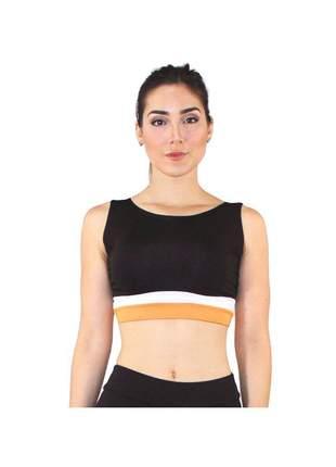 Top Cropped Fitness GR Esporte Preto com Faixa Amarelo Feminino
