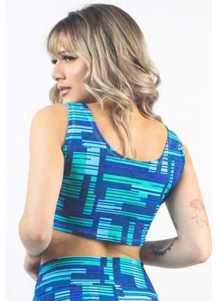 Cropped Fitness GR Esporte Estampado Blue Stripes and Squares Feminino