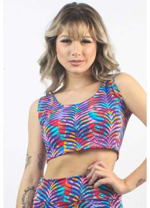 Cropped Fitness GR Esporte Estampado Colorful Striped Floral Feminino