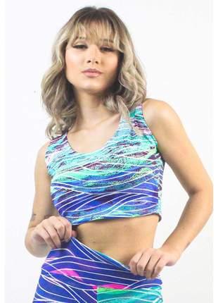Cropped Fitness GR Esporte Estampado Blue Abstract Stripes Feminino