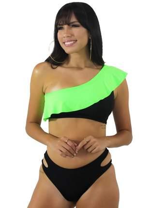 Biquíni GR Esporte Preto com Babado Verde Neon Feminino