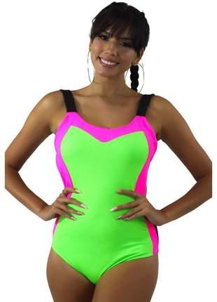 Body Neon Com Alcinha GR Esporte Verde Neon Feminino