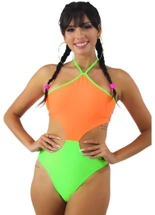 Body Neon Verde e Laranja GR Esporte Com Cava na Cintura Feminino