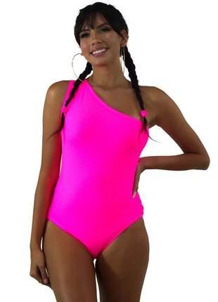 Body Neon Rosa GR Esporte Um Ombro Só Feminino