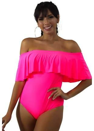 Body GR Esporte Neon Rosa Ombro a Ombro e Babado Feminino