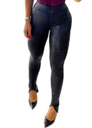 Calça feminina couro cirré hot pants detalhes zíper novidade cfc-911