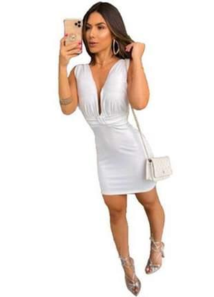 Vestido curto decote cavado lurex brilho festas lançamento vcl-031