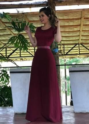 Vestido longo marsala - coleção festa