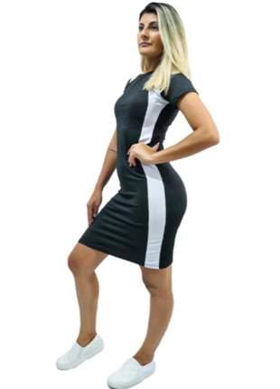 Vestido midi paola tubinho canelado listra lateral novidade vct-583