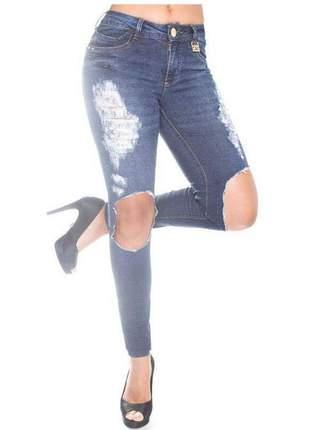 Calça feminina jeans rasgada cintura media canal da mancha