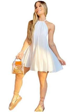 Vestido curto soltinho viscose rodado costas nua novidade vcv-236
