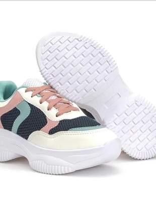 Tênis chunky feminino colorido blogueira sneakers flatform