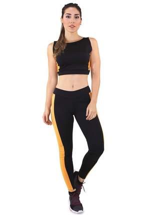 Cropped e Calça Legging Fitness GR Esporte Preto e Amarelo Feminino