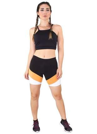 Cropped e Shorts Fitness GR Esporte Com Faixas Preto e Amarelo Feminino