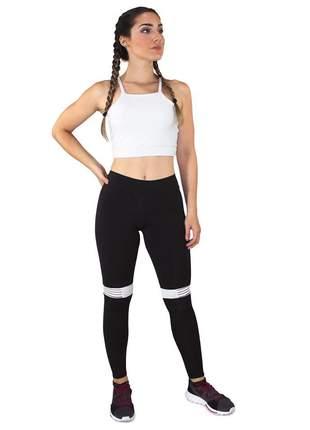 Cropped Branco e Calça Legging GR Esporte Preto Com Listra Branco