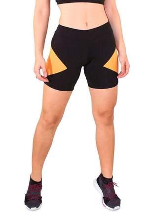 Short Fitness GR Esporte Preto com Detalhe Amarelo Feminino