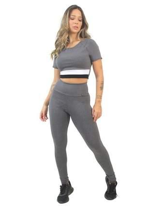 Cropped e Calça Legging Fitness GR Esporte Lisa Cinza Feminino