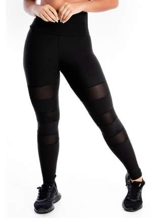 Calça Legging GR Esporte Detalhe Perna Preta Cintura Alta Feminino