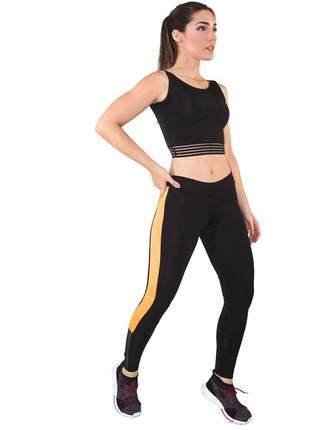 Cropped Preto e Calça Legging GR Esporte Preto e Amarelo Feminino