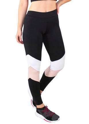 Calça Legging GR Esporte Preto e Detalhes Rosa e Branco Feminino