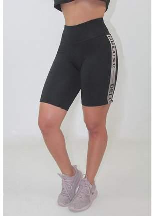Bermuda Esportiva Fitness GR Esporte Deluxe Preta Feminino