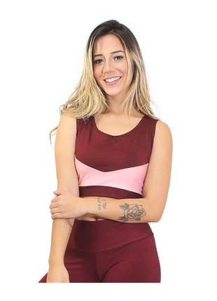 Cropped Fitness GR Esporte Alcinha TurnOn Vermelho e Rosa Feminino