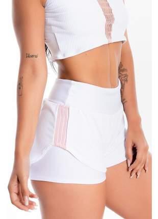 Short Saia Corrida GR Esporte Branco Liso Detalhe Rosê Feminino