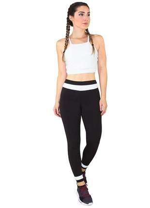 Cropped Branco e Calça Fitness GR Esporte Preto Feminino