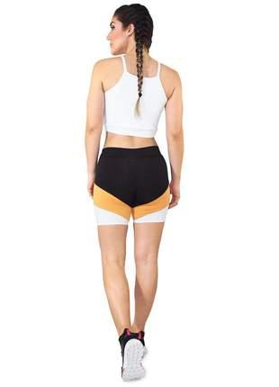 Cropped Alcinha GR Esporte Branco e Short Preto e Amarelo Feminino