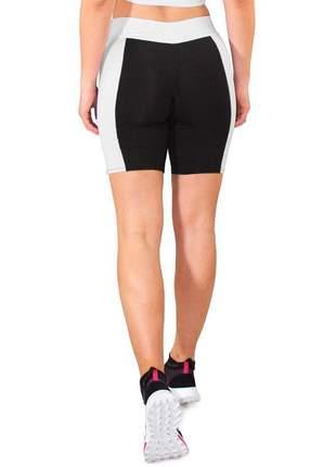 Short Fitness GR Esporte Preto com Faixa Branca Cintura Feminino