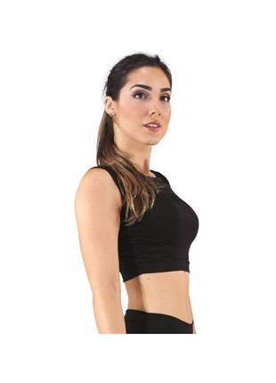Top Cropped Fitness GR Esporte Preto Detalhe Busto Feminino