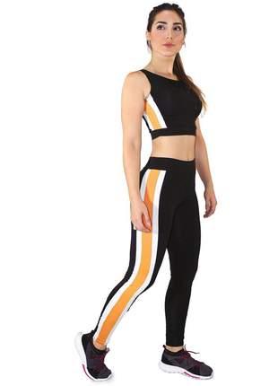Cropped e Calça Legging GR Esporte Preto Amarelo e Branco Feminino
