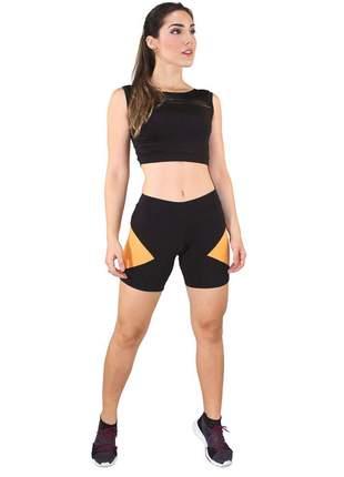 Cropped Regata e Short Fitness GR Esporte Preto e Amarelo Feminino