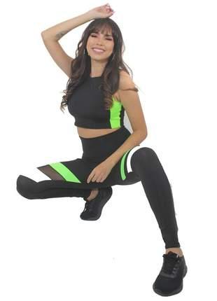 Cropped e Calça Legging Fitness GR Esporte Preto com Preto Feminino