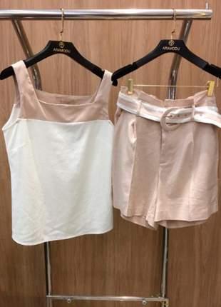 Conjunto shorts e blusa em linho by aramodu