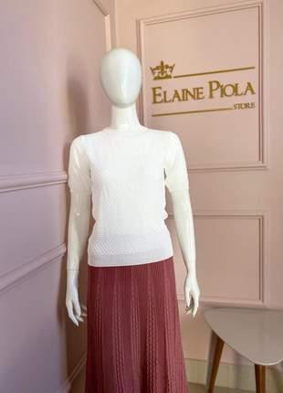 Blusa em tricot branca em ponto ajour by morina