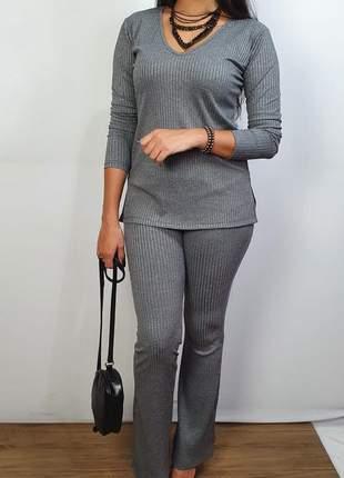 Conjunto malha canelada, blusa e calça em malha canelada  parcelado envio imediato