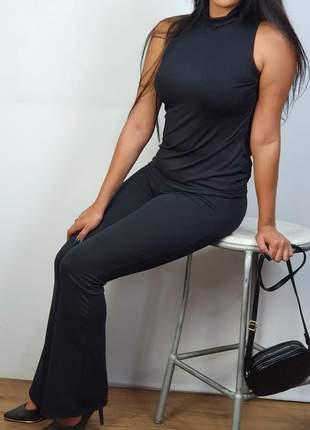 Conjunto calça flare e blusa manga longa malha canelada envio imediato e parcelado