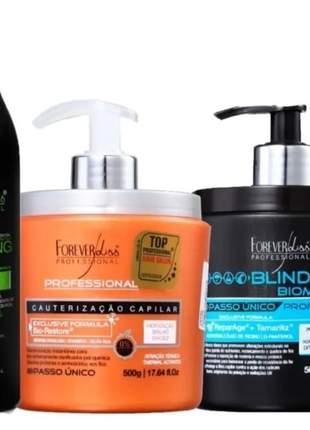 Forever liss cauterização 500g + blindagem + shampoo detox