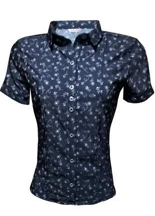 Camisa social feminina manga curta estampada
